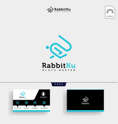 jumping rabbit or bunny logo template and vector image