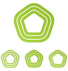 Lime line pentagonal logo design set vector