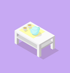 Low poly isometric coffee table vector