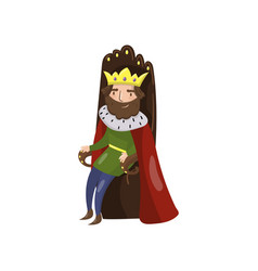 Majestic king in golden crown sitting on wooden vector