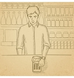 Man paying with smart watch vector