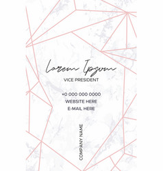 marble business card with a pink crystal pattern vector image