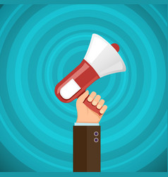 megaphone in human hand with sound waves vector image