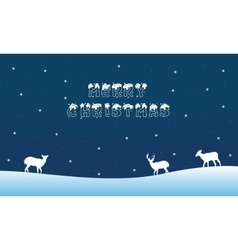 Merry christmas landscape with deer winter vector
