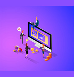 modern flat design isometric concept of manage vector image