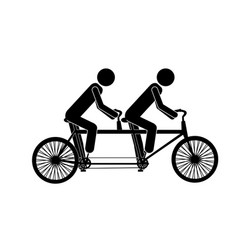 monochrome pictogram of men in tandem bicycle vector image