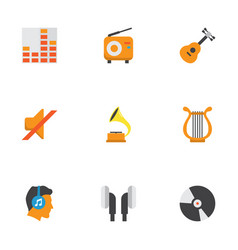 Music flat icons set collection of male shellac vector