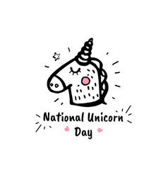 national unicorn day cartoon sketch vector image