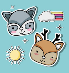 nice animals patches fashion design vector image