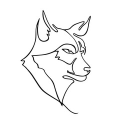 One line drawing wolf head for hunter club logo vector