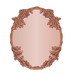 Oval frame oak leaves and acorns woodcarving vector