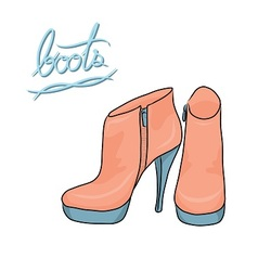 Pastel color modern boots vector