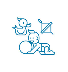 playing with the child linear icon concept vector image
