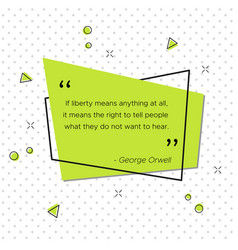pop-art banner with george orwell liberty quote vector image