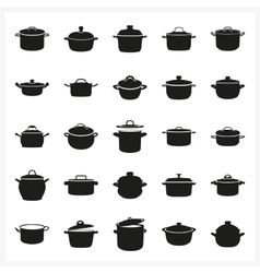 pot icon set in simple monochrome style vector image