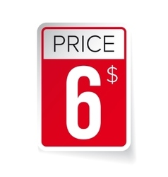 Price Tag sticker - Six usd vector image