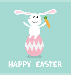 rabbit with carrot sitting on painting pink egg vector image