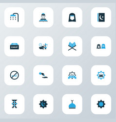 Ramadan colorful icons set collection koran vector