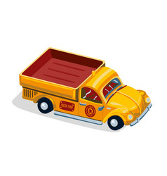 retro pickup car with fruit farm lorry car vector image