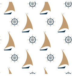 sailing ship and steering wheel seamless pattern vector image