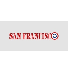 San Francisco city name with flag colors vector image