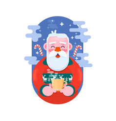 santa claus with cup of coffee flat vector image
