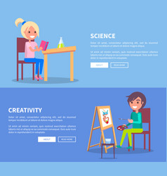 science creativity posters set with girl and boy vector image