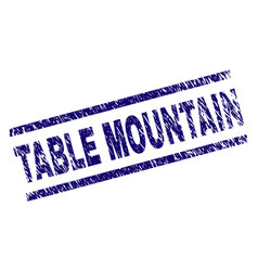 Scratched textured table mountain stamp seal vector