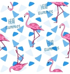 Seamless background Flamingo and triangle vector