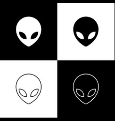 Set alien icons isolated on black and white vector