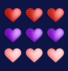 set colorful realistic hearts with shadow vector image