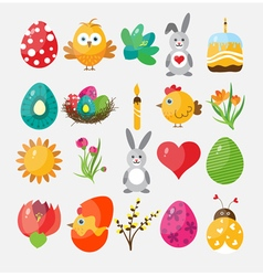 Set Easter flat icons vector
