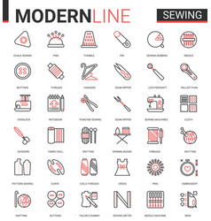 sewing tailoring thin red black line icon vector image