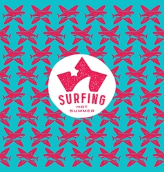 Shark surfing seamless pattern and emblem vector image