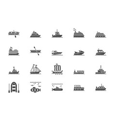 ship boat silhouette icons vector image