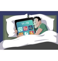 Smartphone in bed vector image