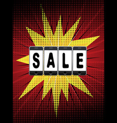 Smartphone with sale word vector