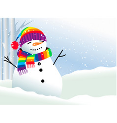 snowman in rainbow scarf vector image
