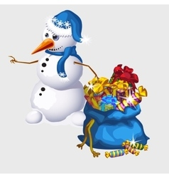 Snowman with a big blue bag of candy and gifts vector