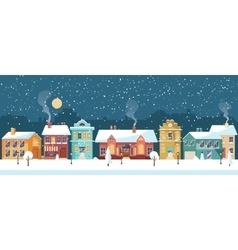 Snowy christmas night in the cozy town panorama vector