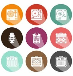 Solid icons musical instruments shadow vector