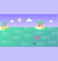 summer landscape with islands and fish vector image