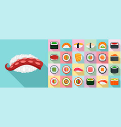 sushi roll icon set flat style vector image