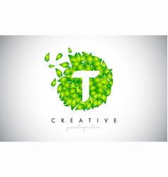 T green leaf logo design eco logo with multiple vector