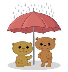 Teddy bears and umbrella vector