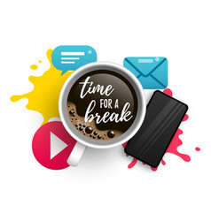 time for a break with coffee vector image