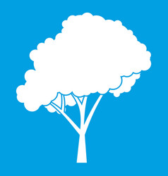 Tree with a rounded crown icon white vector