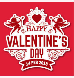 Valentine day red cupid heart image vector