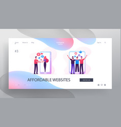 web dating concept website landing page people vector image