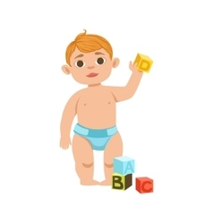 White Toddler Boy In Diaper With Cubes Part Of vector